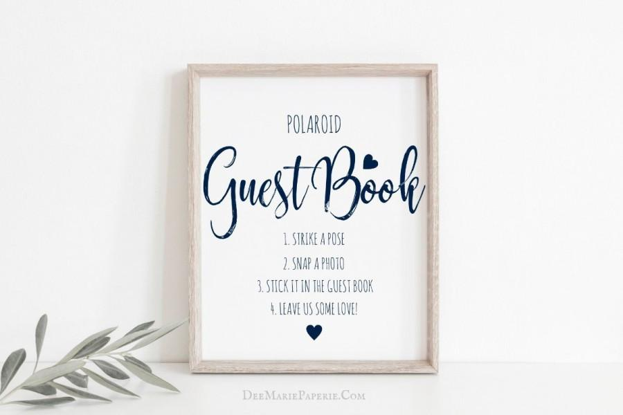 Mariage - Polaroid Photo Guest Book Sign, 100%  Editable Template, Photo Booth Sign, Instant Camera Wedding Sign, Corjl, Navy Wedding, #DMPT817_14