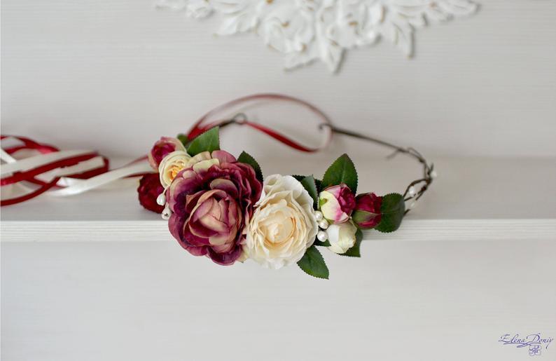 Mariage - Burgundy ivory flower crown Bridal halo Wedding flower head wreath Burgundy Bridal crown Boho Halo flower fake wedding flowers hair Bride