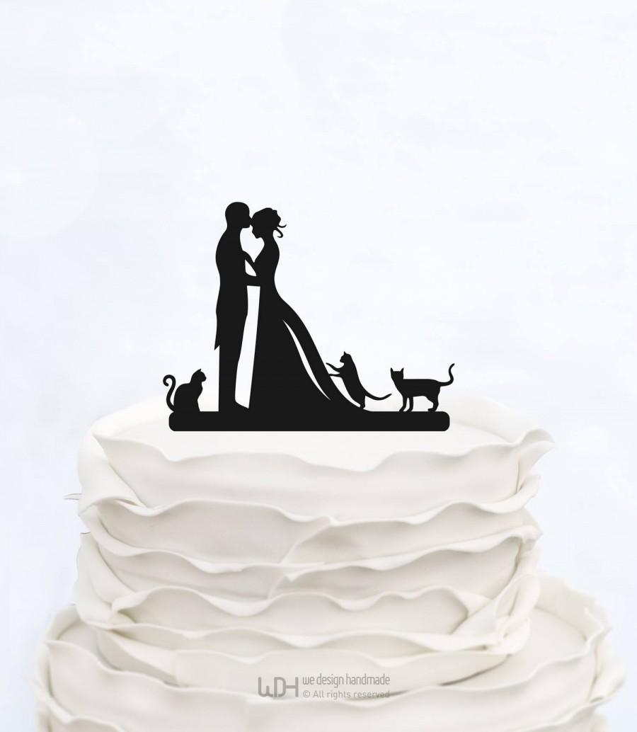 Wedding - Wedding Cake Topper With three Cats_Bride And Groom Couple Silhouette_Custom Cake Topper_bridal show topper personalized