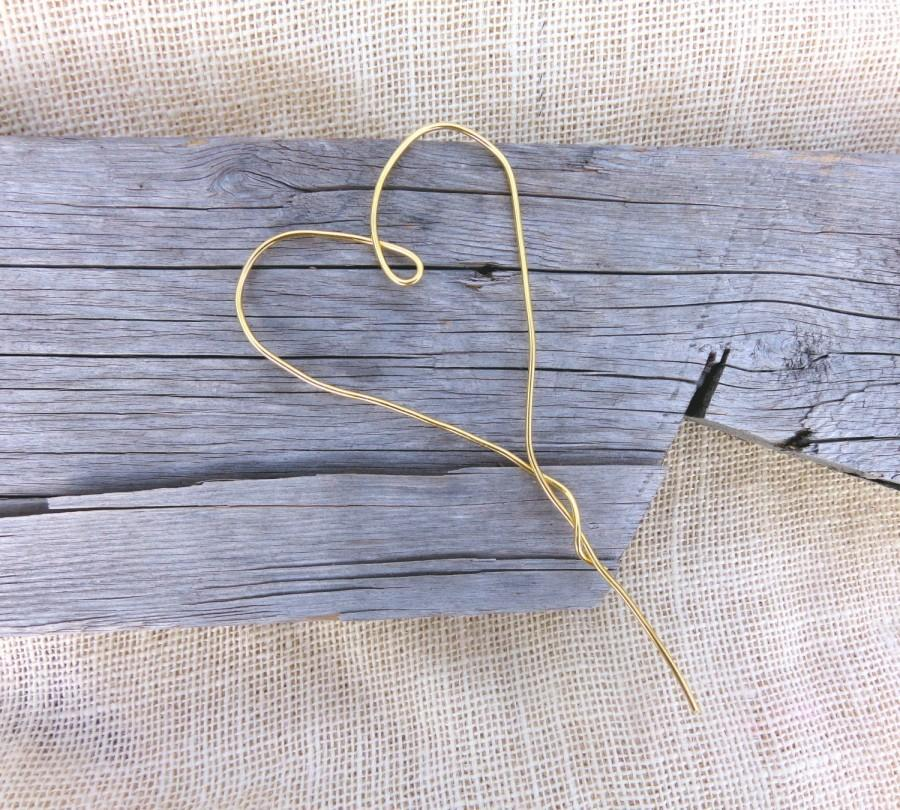Свадьба - Wedding Cake Topper, Rustic Wedding Cake Topper, Heart Cake Topper, Barn Wedding, Gold Cake Topper, Wire Cake Topper, Simple Cake Topper