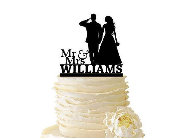 Hochzeit - Military Mr. And  Mrs. Saluting Soldier And Bride  With Name - Wedding - Anniversary -  Standard Acrylic or Baltic Birch Cake Topper - 146