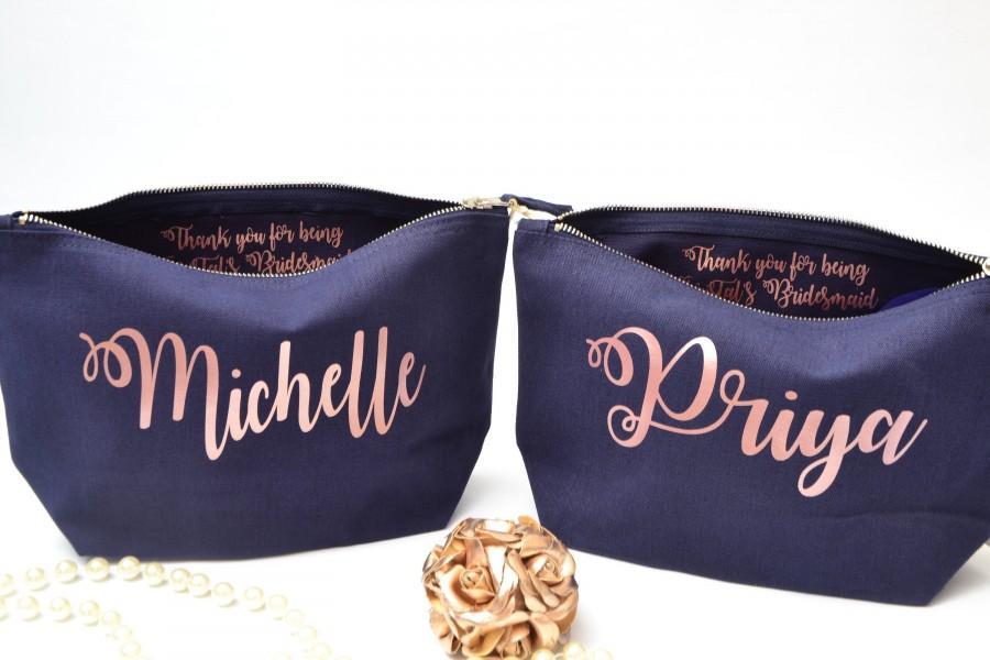 Свадьба - Personalised cosmetic bag, bridesmaid proposal bag, personalised makeup bag, personalised bridesmaid proposal bag, bridal party gift