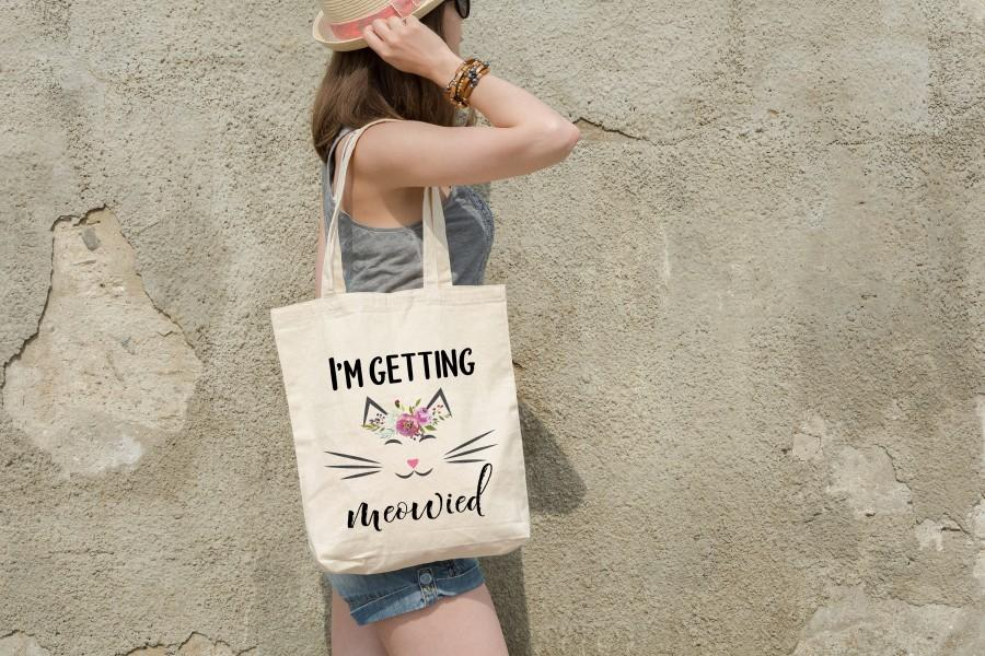 Wedding - I'm Getting Meowied Tote Bag, Bridal Shower Gift, Meowied Gift, Funny Canvas Bag, Bride Tote, Carry All, Getting Hitched, Cute Bride Gift
