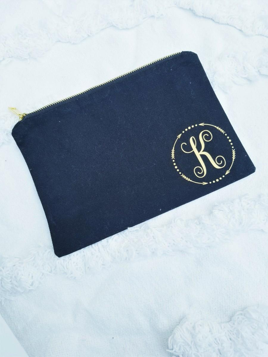 Wedding - Monogram Cosmetic bag,Bridesmaid Makeup Bag,Cosmetic Pouch,Custom Bridesmaid Gift for Her, Christmas Gift for her, Personalized Makeup Bag