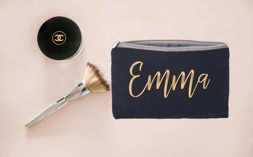 Свадьба - Personalized Makeup Bag, Bridesmaid Gift Personalized, Will You Be My Bridesmaid Proposal, Thank you for being my Bridesmaid, Cosmetic Bag