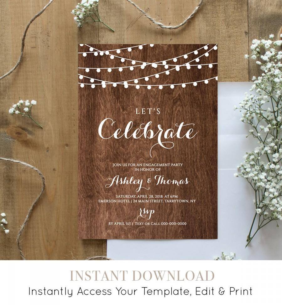 Wedding - Engagement Party Invitation Template, Printable Engagement Announcement, String Lights, 100% Editable, Instant Download, Templett #014-102EP