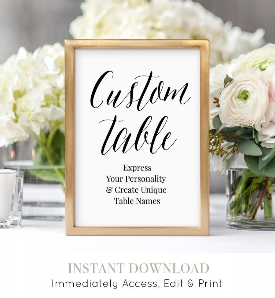 Hochzeit - Personalized Table Cards, Wedding Table Numbers, Editable Seating Assignment, Create & Design Unique Table Names, Instant Download #NC-114TC