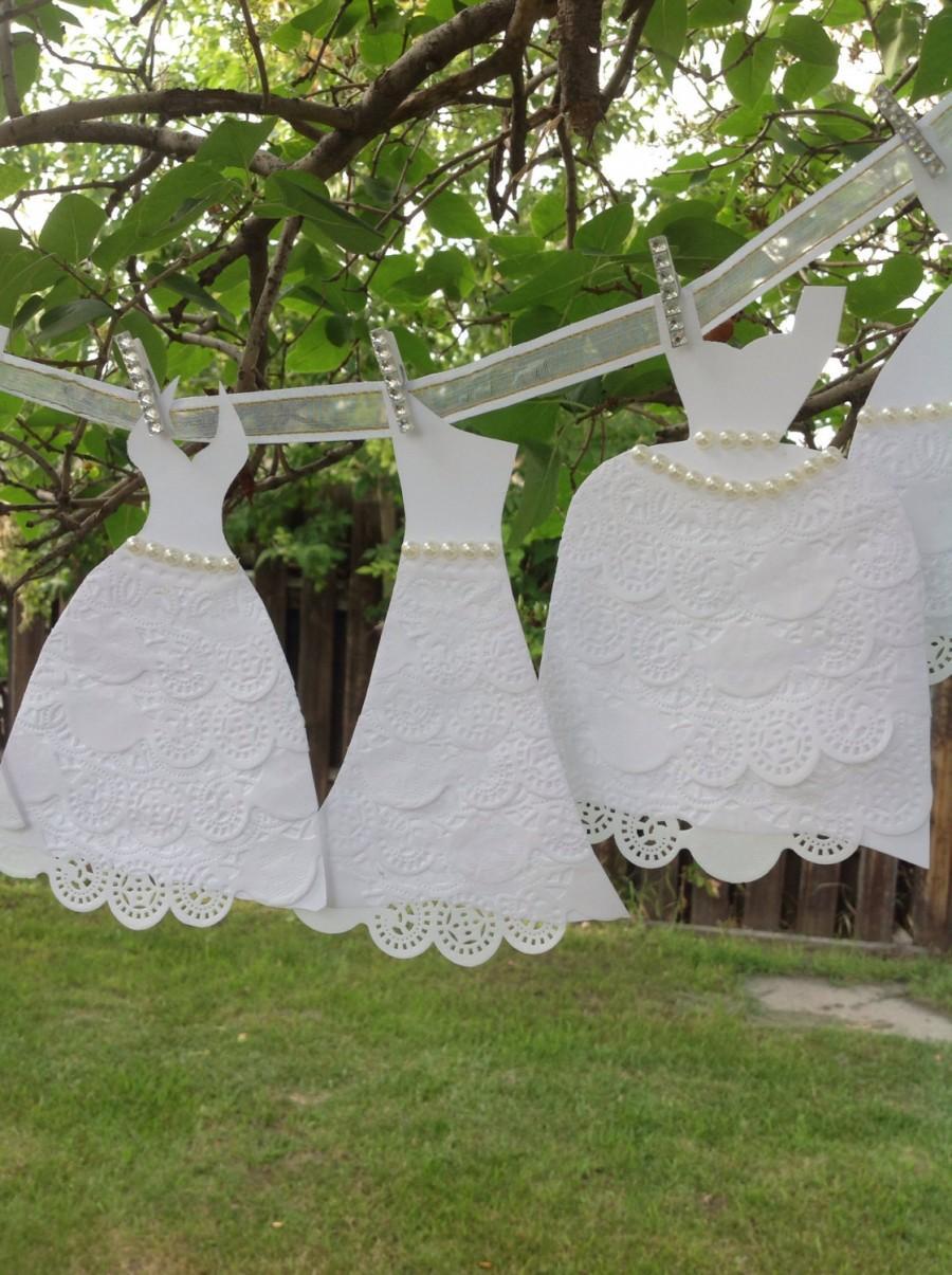Wedding - Paper Wedding Dress Garland - Bridal Shower Decoration - White Dresses With White Ribbon
