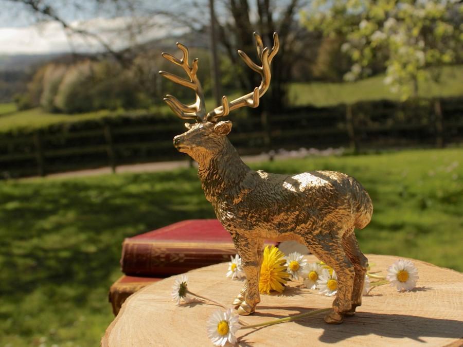 Mariage - Gold Deer Stag Reindeer Wedding Cake Topper Centrepiece Decoration Animal lovers Nature Woodland Rustic Golden Metallic Rose Silver Xmas