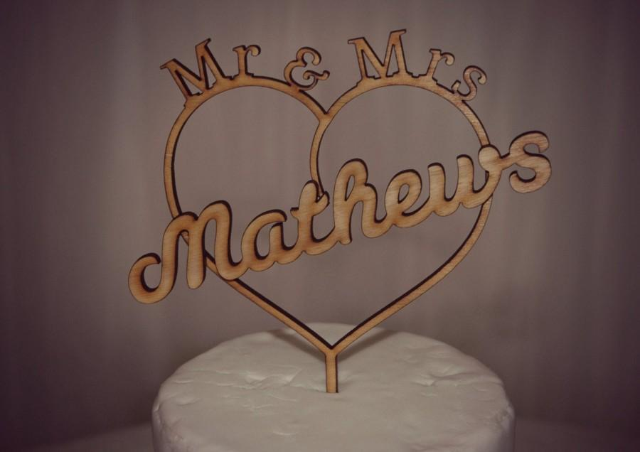 Wedding - Mr & Mrs Wedding Cake Topper, Personalised with Surname. Rustic Wooden Topper