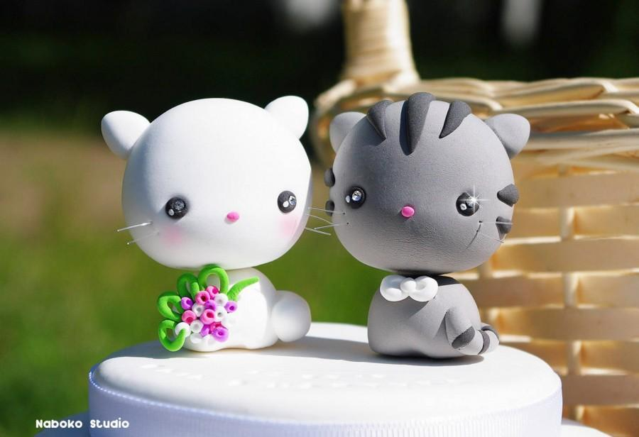 Свадьба - Wedding Cake Topper / Grey Tabby and White Cats / Kawaii Kittens Couple / Bride and Groom / Wedding Decoration