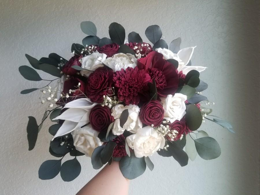Wedding - Bouquet Burgundy Wine Sola Wood Flower and Dried Flower Wedding Set Bridal Bridesmaids Sage Eucalyptus Calla lilie Rose Daliah Style 199