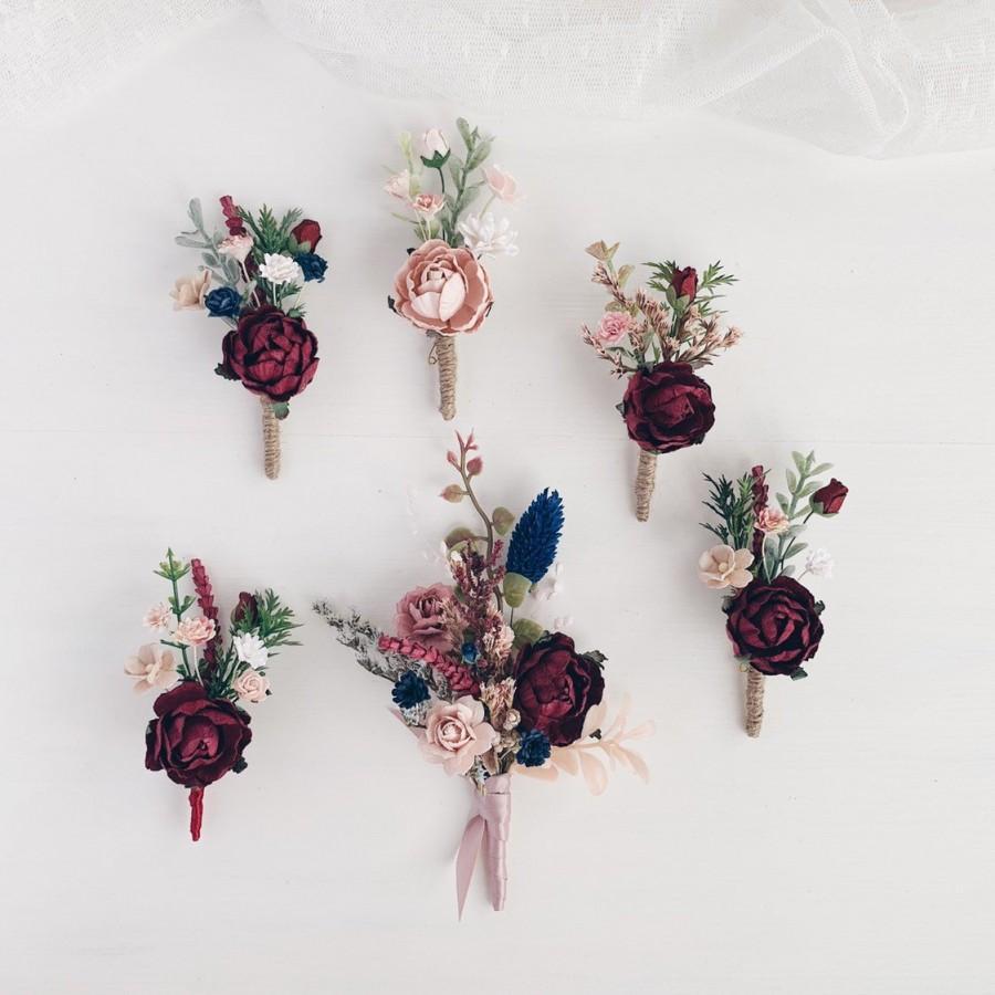 Mariage - Rustic boutonniere, Burgundy flower boutonniere, Groomsman boutonniere, man boutonniere