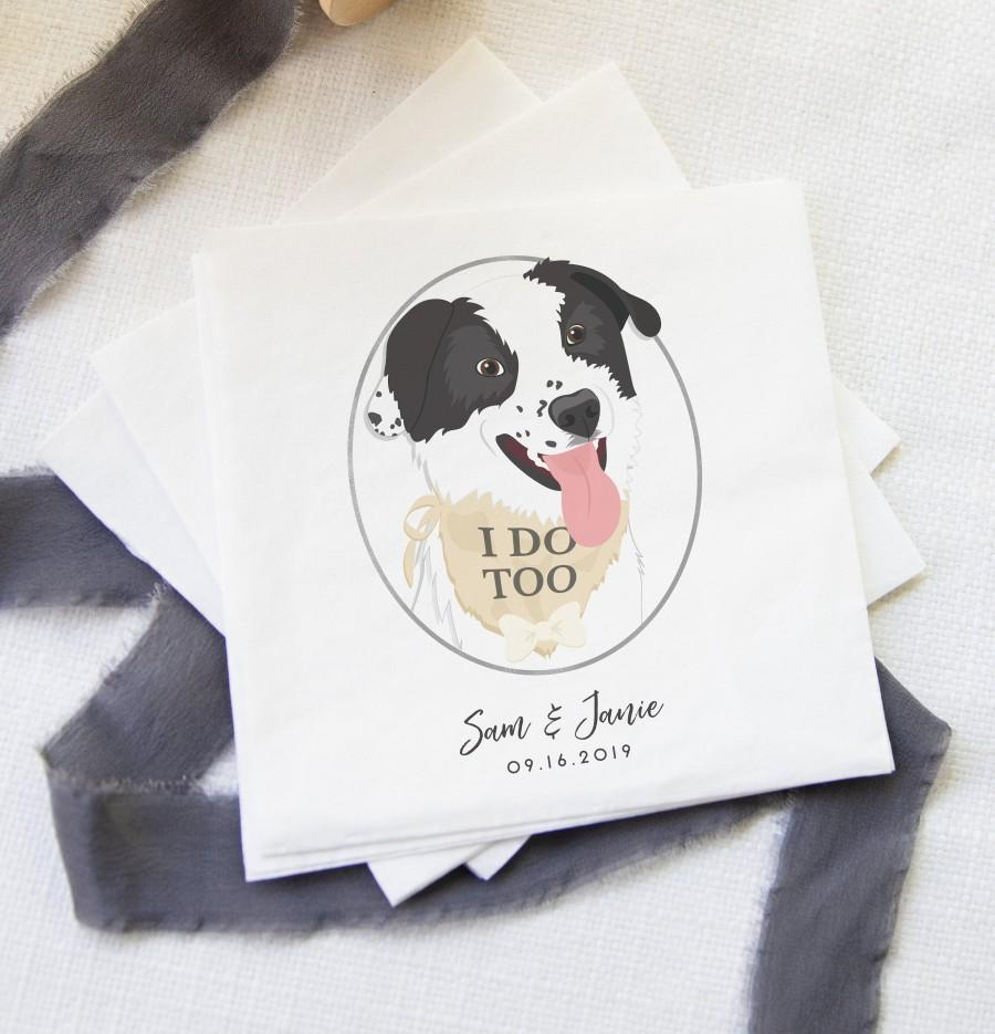 Свадьба - Dog of Honor Cocktail Napkins for Wedding - Wedding Bar Napkins with Dog
