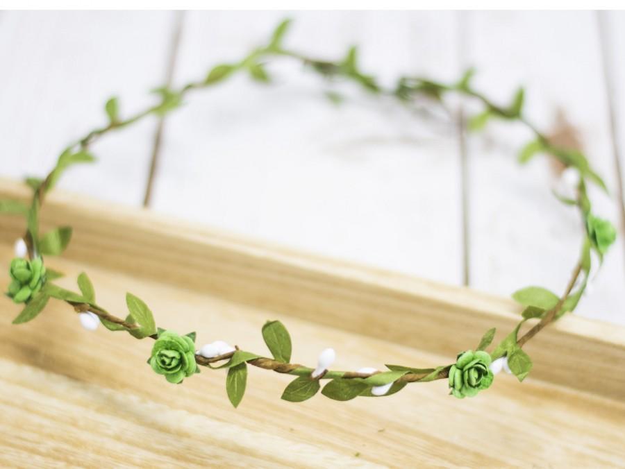 Hochzeit - Flower Crown Fairy Green Leaf Crown Hair Tiara Flower girl Hair Piece Wedding Flowergirl flower crown Boho Rose