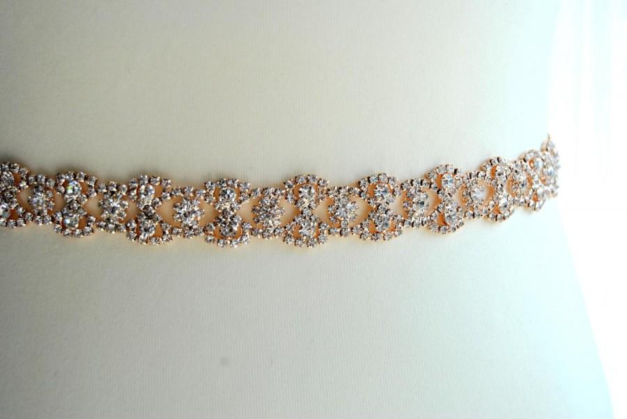 Wedding - Rose Gold Full Length Thin Dress Sash Belt Wedding dress Bridal Sash Rose Gold Rhinestone Bridal Bridesmaid Sash Belt, Wedding dress sash