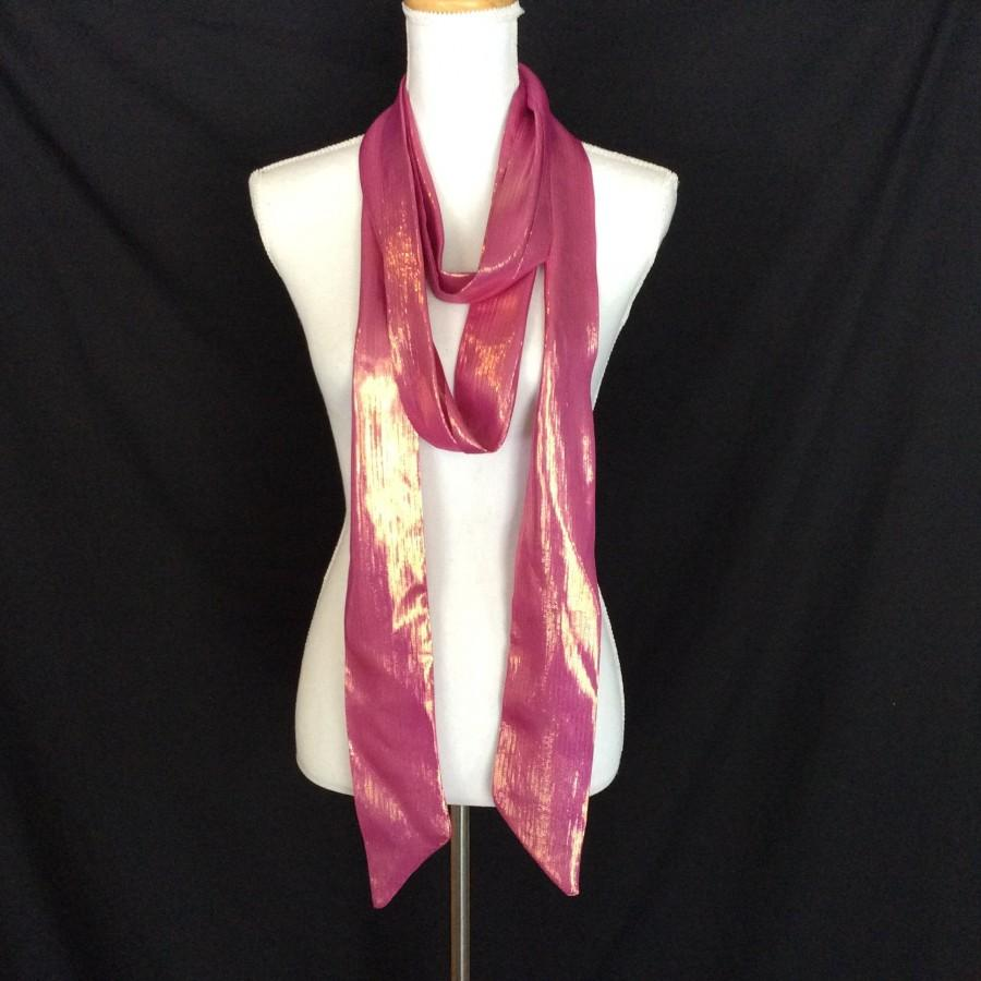 Mariage - Sparkly Pink Sash, Extra Long Pink Scarf, Fuchsia Sash for Bridesmaids, Pink Long Skinny scarf, Sparkly Bow Scarf  Extra Long Scarves