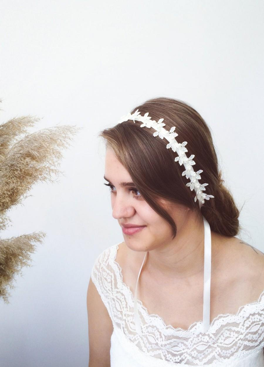 Mariage - Leaves Bride Headband, Bridal Hair Jewelry, Lace Leaf Headpiece, Wedding Pearl Headwrap, Embroidered Hairband, Bridesmaid Gift, Women Gift