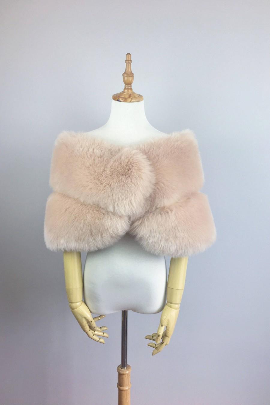 Hochzeit - Blush / Beige / Nude / Light Brown faux fur bridal wrap, Wedding Fur shrug, Fur Wrap, Bridal Faux FurStoleFur Shawl Cape (Penelope Blu01)