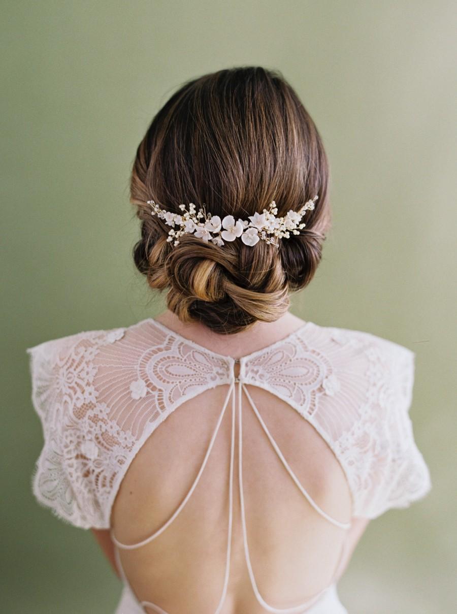 Hochzeit - Wedding Hair Piece, Wedding headpiece, bridal headpiece, bridal comb, floral bridal comb, flower hair vine, wedding hair piece, VIOLETTA