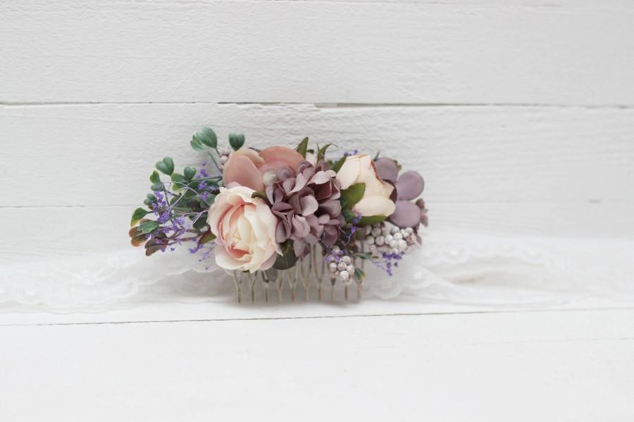 Wedding - Wedding set Floral accessories Pastel wedding Romantic flower comb Pink lilac Bridal hairpiece Boutonniere  Bridesmaid Buttonhole Groom