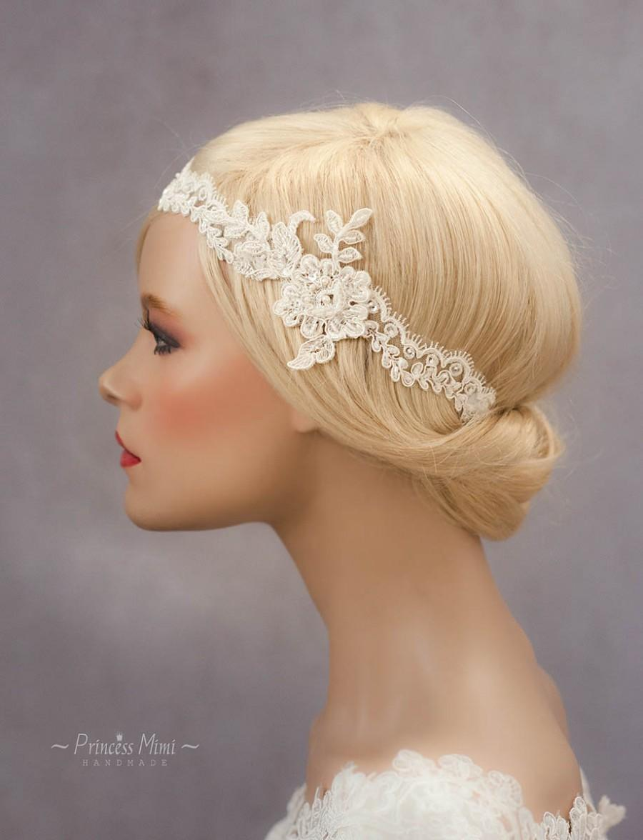 Mariage - Vintage Headpiece Lace Hairband/ Headband beaded with Pearls in Ivory, Bohemian Head Piece, Wedding Lace Headpiece