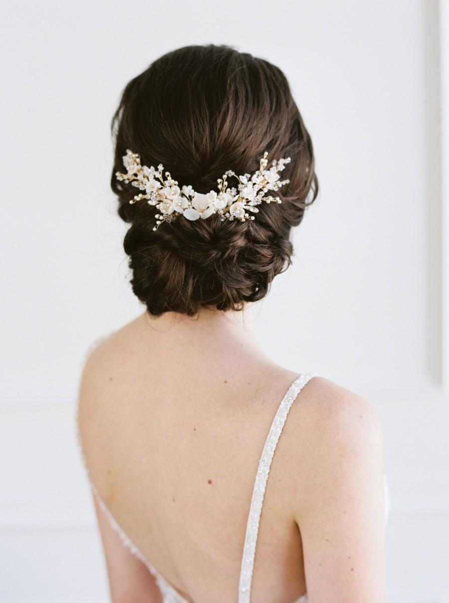 Свадьба - CAPUCINE Crystal Wedding Headpiece, Bridal Headpiece, Wedding Hairpiece, Bridal Hairpiece, Floral Bridal Hair Comb, Floral Wedding Hair Comb