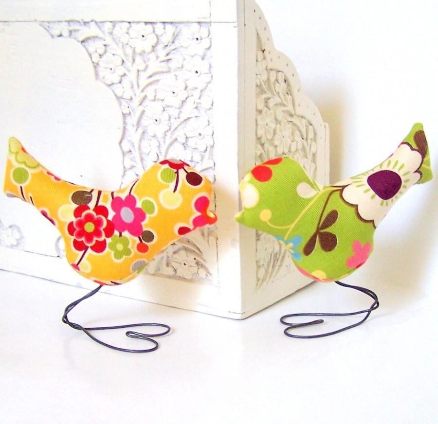 Wedding - Wedding Cake Topper Love Birds in Summer Green Flower and Sunshine Yellow Flower, Home Decor, Baby Girl Nursery Decor