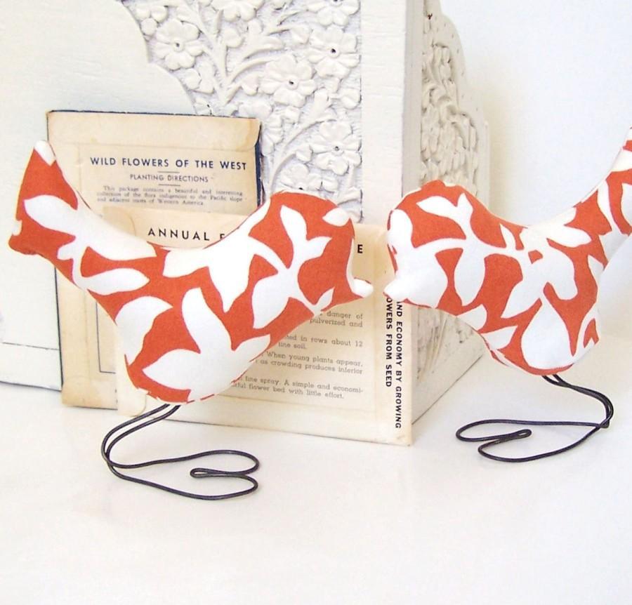 Wedding - Wedding Cake Topper Love Birds, Autumn Rust Orange, White Leaves, Outdoor Wedding, Summer Wedding, Wedding Gift