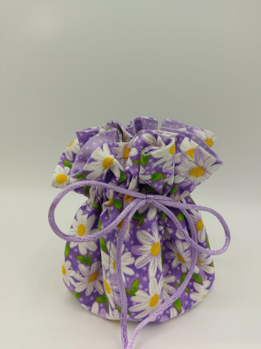Wedding - Jewelry Travel Tote, Drawstring Organizer Pouch, Beautiful White Daisies and Purple Designs