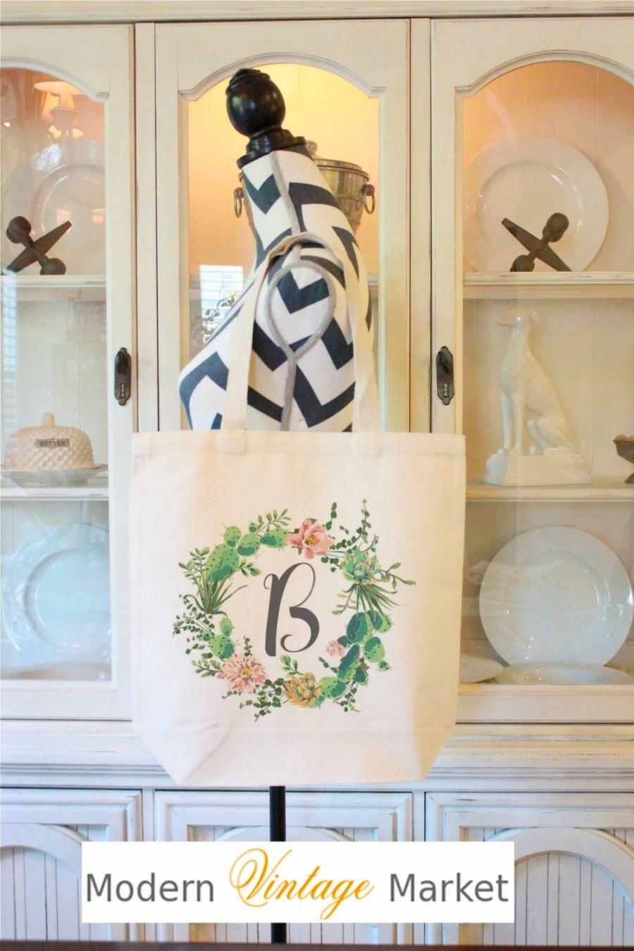 Свадьба - Succulent Wreath Tote,Rustic Wedding Bags,Cactus Wedding,Bridesmaid Bags,Bridesmaid Tote Bags,Gift bags,Bridesmaid bag,Modern Vintage Market