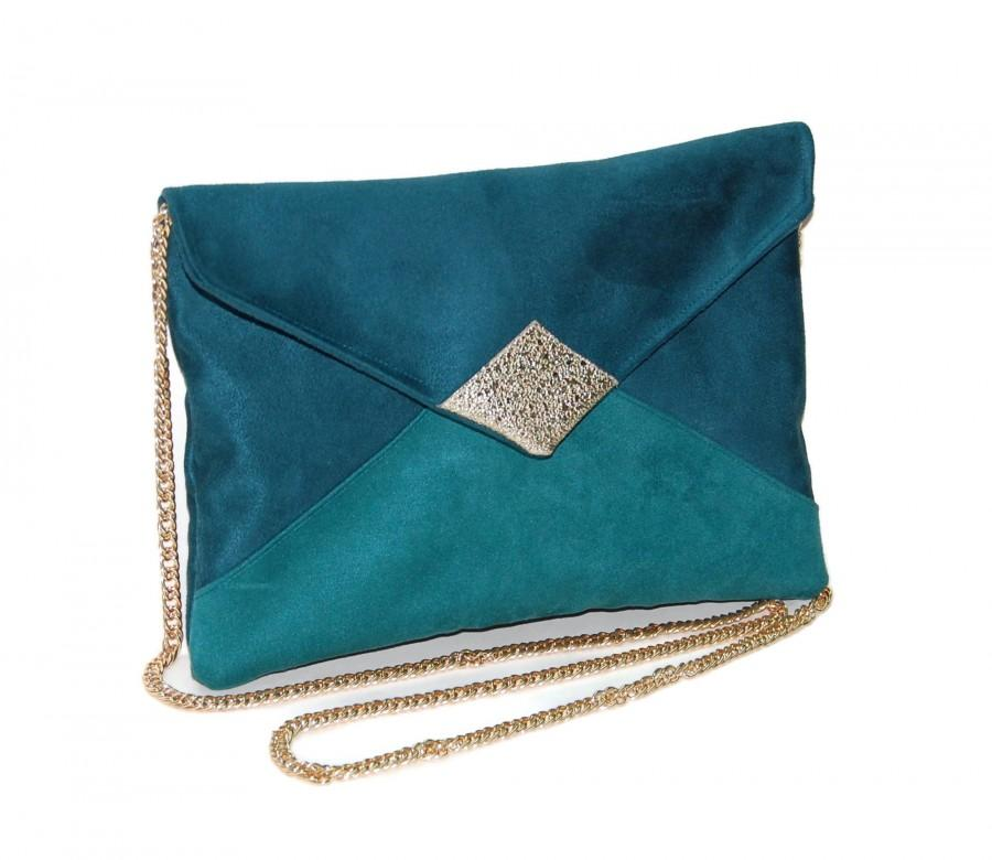 Hochzeit - Wedding clutch, evening clutch, oil blue envelope clutch, green, imitation glitter sequin leather - After the Beach