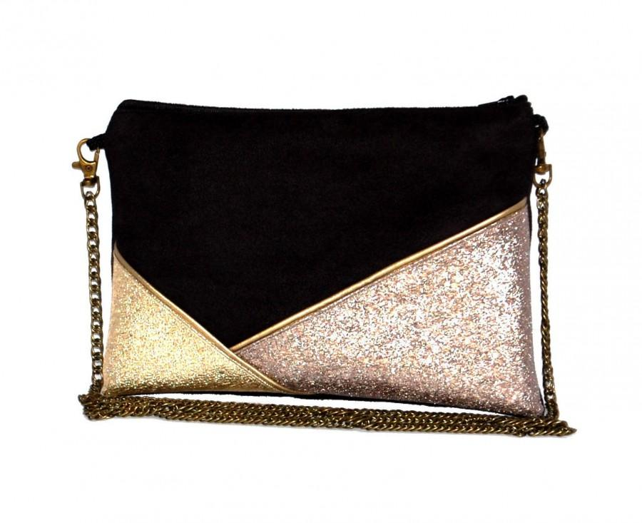 Hochzeit - Wedding pouch, evening clutch, black suede faux leather gold and bronze - After the Beach ©