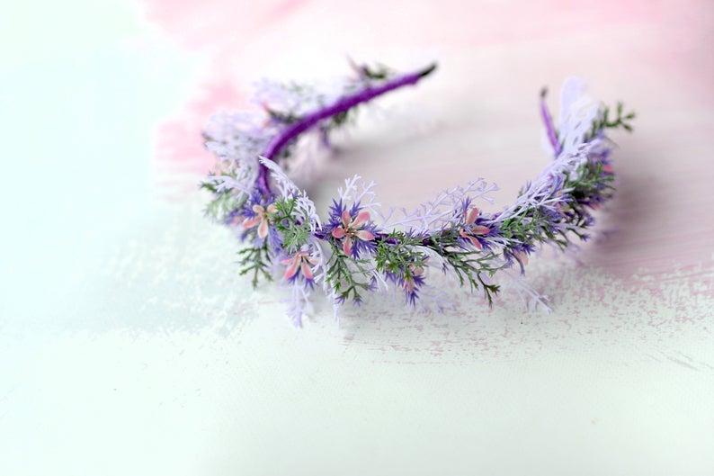 Hochzeit - Purple headband, Rustic flower halo, Wildflowers tiara, Woodland hair crown, Wedding woodland tiara, Forest headpiece
