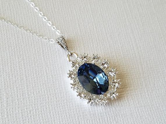 Hochzeit - Blue Halo Crystal Necklace, Swarovski Denim Blue Silver Pendant, Blue Oval Bridal Necklace, Wedding Jewelry, Bridal Party Gift, Prom Jewelry