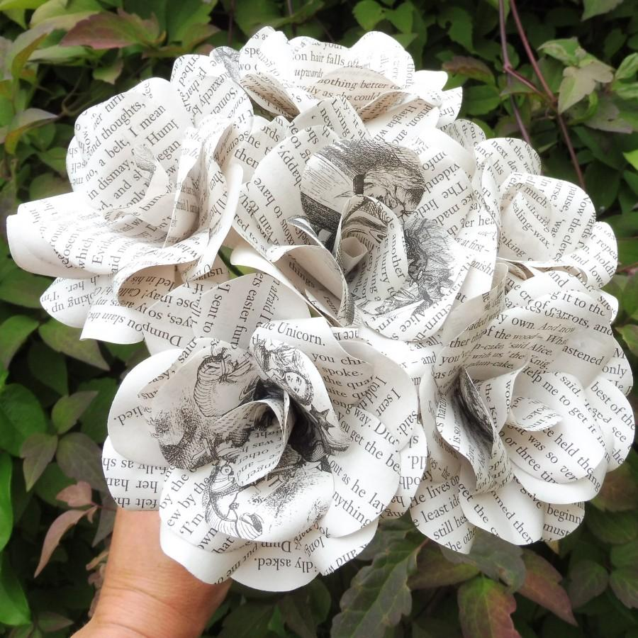 Wedding - 12 x Alice In Wonderland Book Paper Flowers, Paper Roses, Handmade flowers