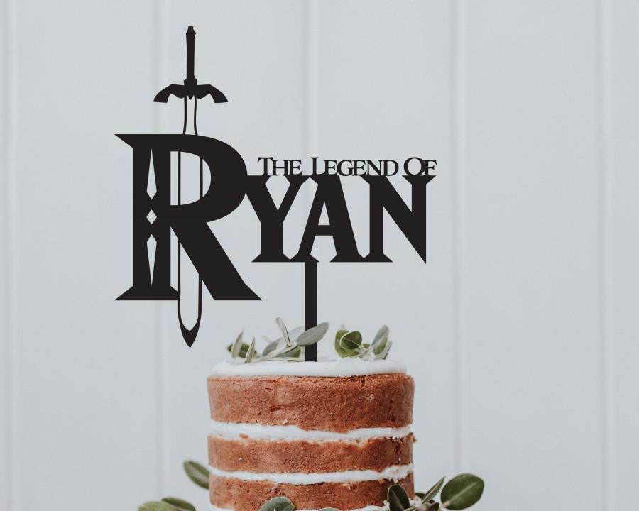Wedding - Legend of Zelda Logo Cake Topper Personalised Your Name Multiple Colours Gamer Mens Womens Birthday