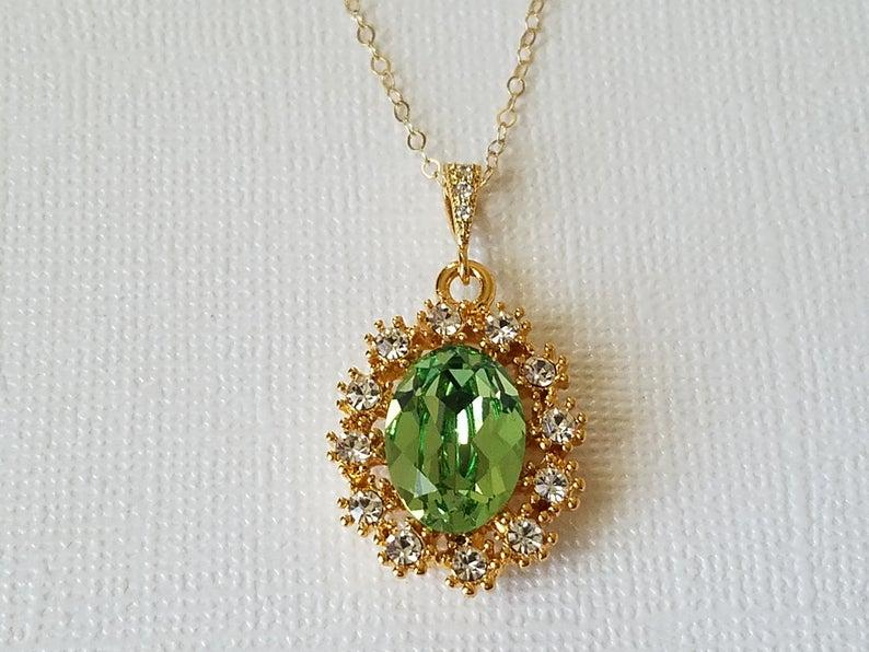 Wedding - Green Halo Crystal Necklace, Swarovski Peridot Gold Necklace, Green Oval Pendant, Wedding Bridal Jewelry, Bridal Party Gift, Prom Necklace