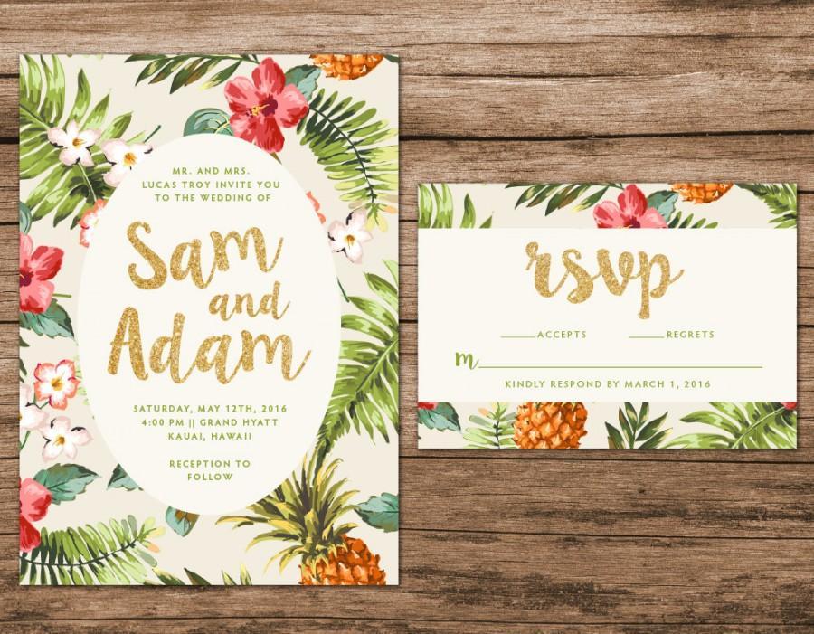 Wedding - Tropical Wedding Invitation, Destination Wedding Invitation, Hawaiian Wedding Invite
