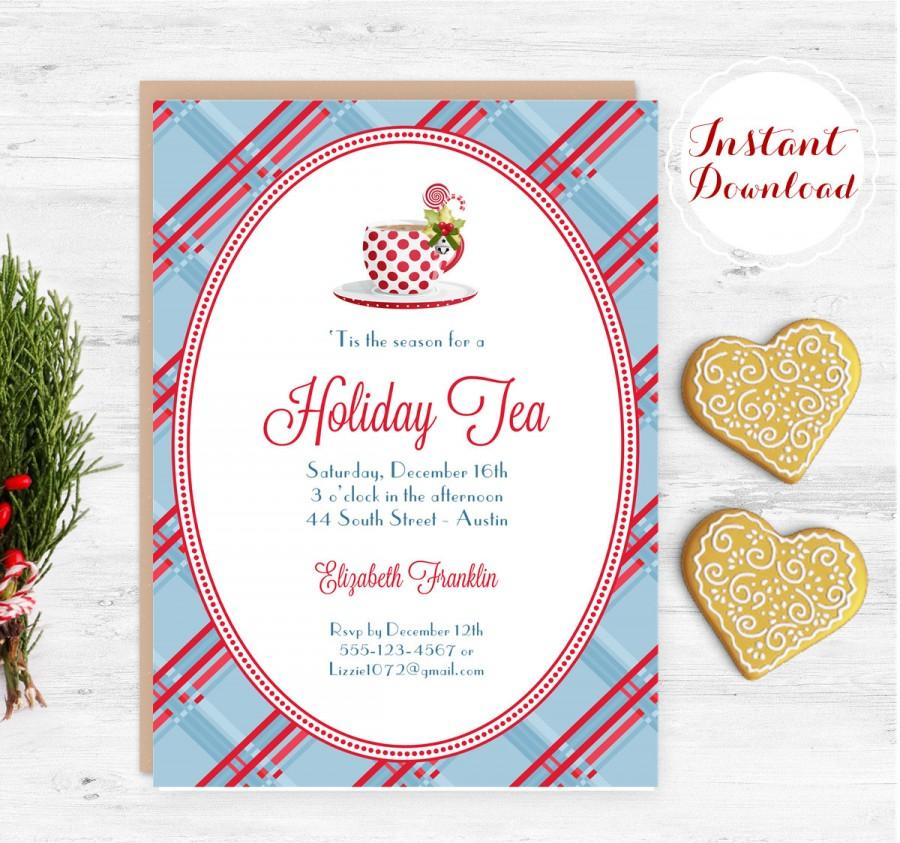 Wedding - Holiday Tea Invitation Christmas Tea Invite Digital Template Editable & Printable Instant Download DIY Microsoft Word