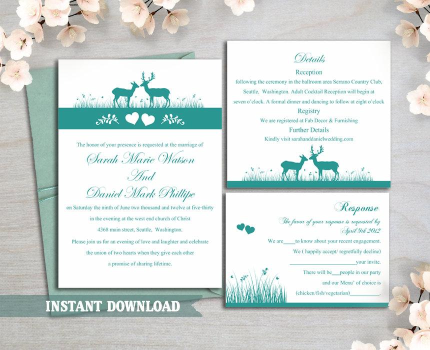 Wedding - Wedding Invitation Template Download Printable Wedding Invitation Editable Reindeer Invitation Teal Wedding Invitations Blue Invite DIY DG13