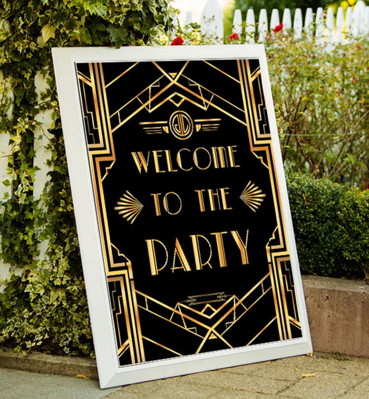 Wedding - Great Gatsby Art Deco Welcome To The Party, Welcome To The Party Sign, Printable Party Decor, Gold Party Sign, Printable Party Poster 01