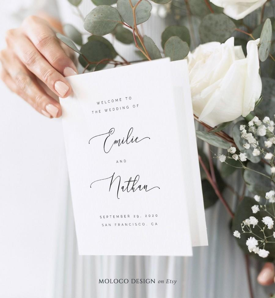 Wedding - Folded Wedding Program Template Classic Formal & Elegant, TRY BEFORE You Buy! 100% Editable, Instant Download, Dusty Rose, Dusty Navy Blue