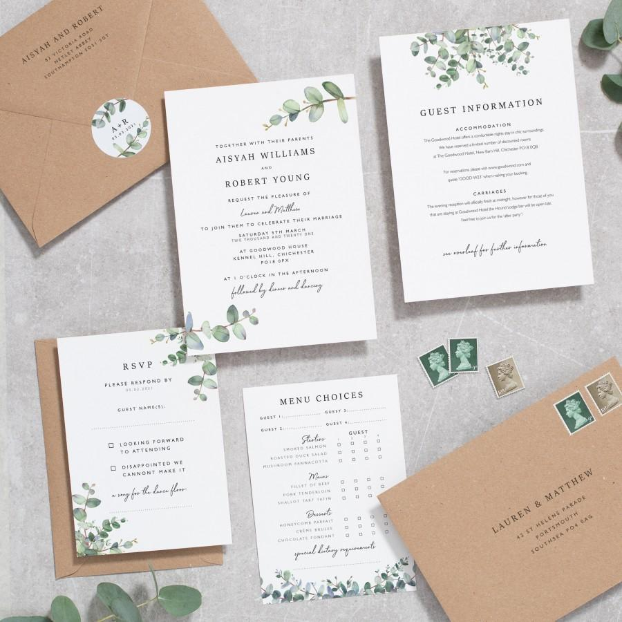 Wedding - Greenery Wedding Invitation Set, Eucalyptus Wedding Invitations, Botanical Wedding Invitation Foliage Invites 'Aisyah' #103