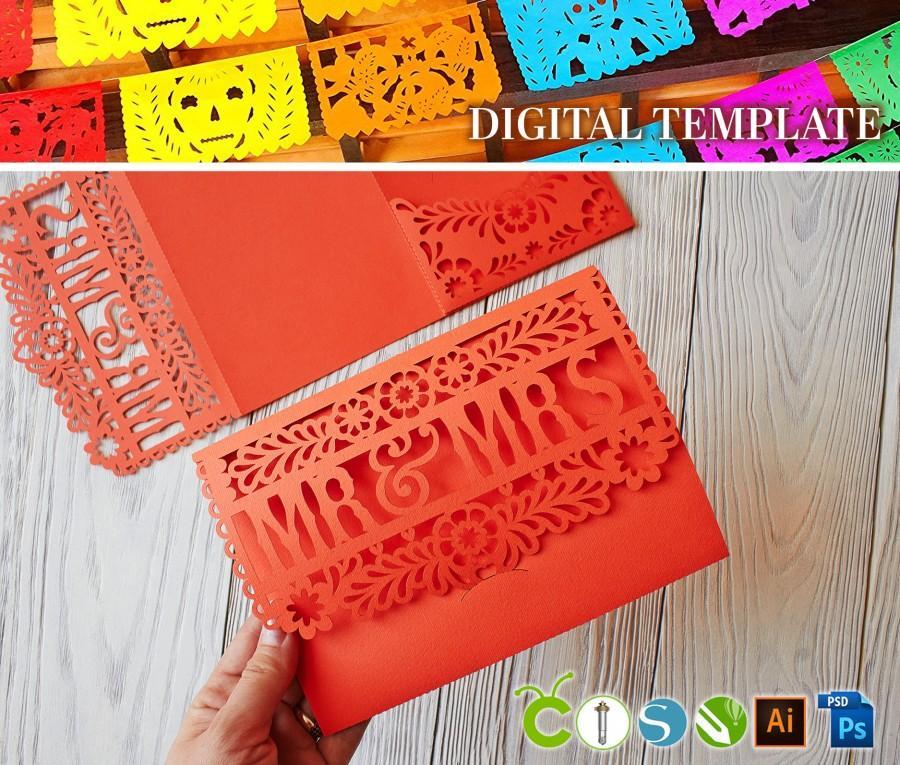 Wedding - DIY Wedding Mexican invitation template pocket Tri Fold Papel Picado SVG, files for paper cut (svg dxf ai cdr) lasercut stencil Cameo Cricut
