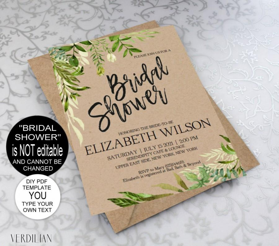 Wedding - Rustic Bridal Shower Invitation, Bridal Shower Invite, Rustic Wedding, Shower Invitations, Wedding Printable,PDF Instant Download