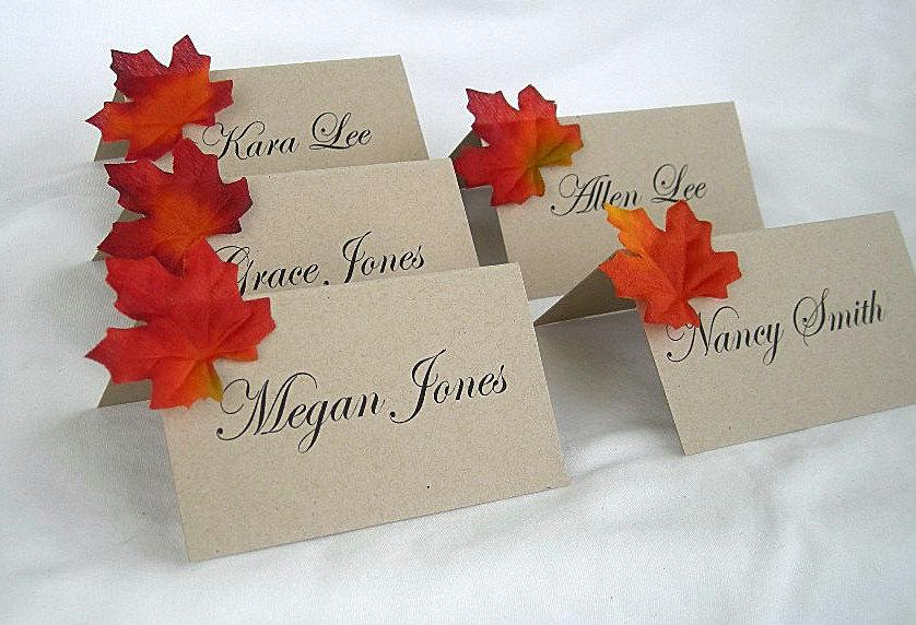 Wedding - Fall Place Cards Thanksgiving Table Cards Rustic Wedding Place Cards Fall Leave Thanksgiving Table Decor Kraft Fall Leaf Favors Party Decor