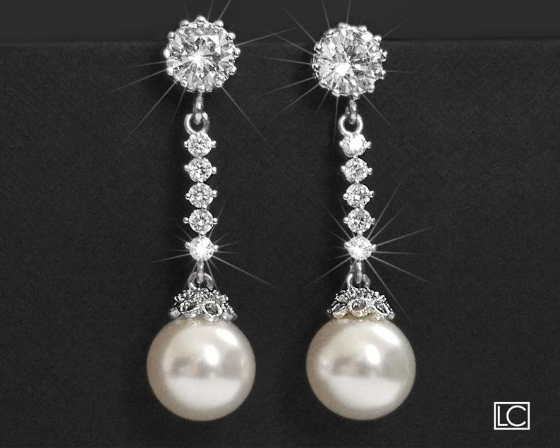 Wedding - Pearl Bridal Earrings, Swarovski White Pearl Silver Earrings, Wedding Pearl CZ Earrings, Pearl Bridal Jewelry, Pearl Chandelier Earrings