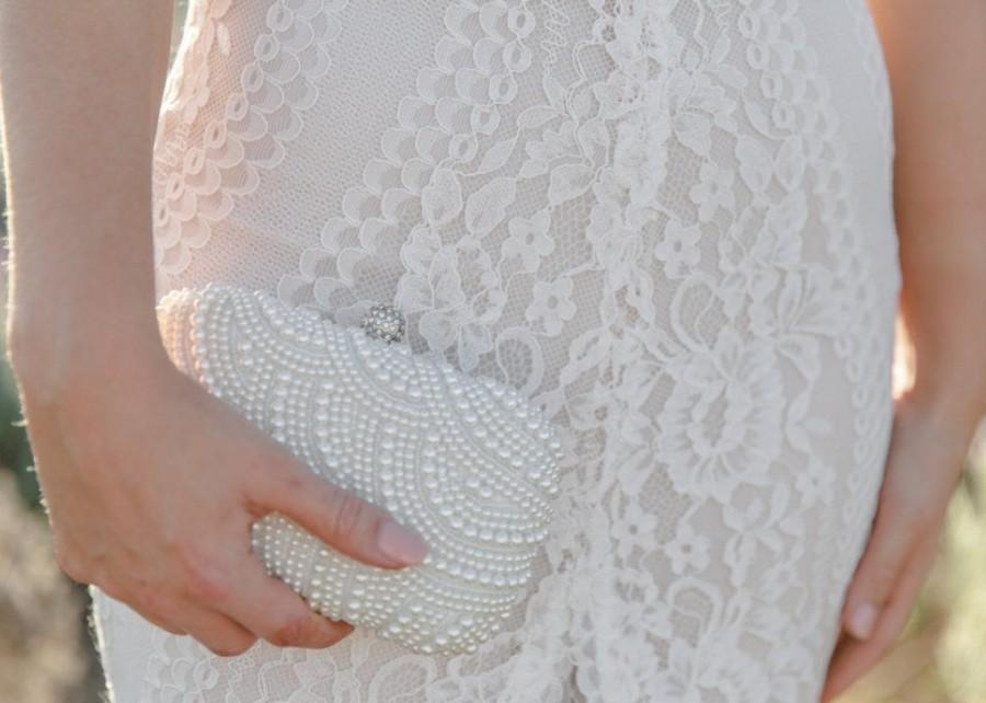 Wedding - Beaded Pearl Clutch Bag, Bridal Clutch, Wedding Clutch, White Clutch Bag, Ivory Clutch Bag, Beaded Clutch Bag, Wedding Purse, White Purse