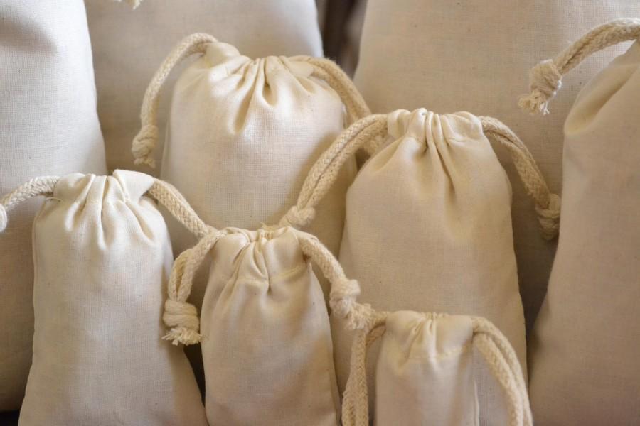 "Mariage - 6""x8"" Cotton Muslin Bags - 100% Organic Cotton Double Drawstring Premium Quality Eco Friendly Reusable Natural Muslin Bags"